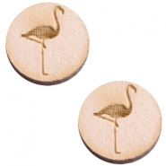 Holz Cabochon Flamingo 20mm Nude cream pink