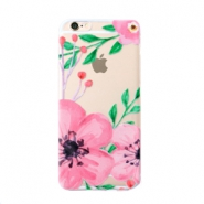 Telefon Hüllen für iPhone 6 Plus Flower Transparent-pink green