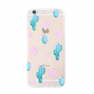 Telefon Hüllen für iPhone 6 Plus Cactus & Flowers Transparent-blue pink