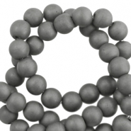 Hematite Perlen rund 6mm Matt Anthracite grey