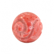 DQ acryl carved Polaris Perlen 20mm rund Canyon rose