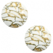 Cabochon Basic Stone Look 12mm White-brown black