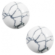 Cabochon Basic Stone Look 20mm White-black