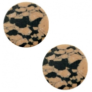 Cabochon Basic flach Stone Look 12mm Sand brown-black