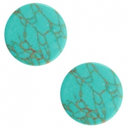 Cabochon Basic flach Stone Look 12mm Light turquoise-brown