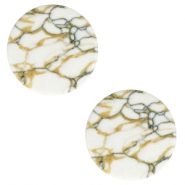 Cabochon Basic flach Stone Look 20mm White-brown black