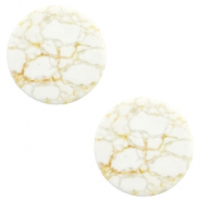 Cabochon Basic flach Stone Look 12mm White-beige brown