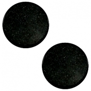 12 mm flach Cabochon Super Polaris Black