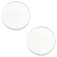 12 mm flach Cabochon Super Polaris White