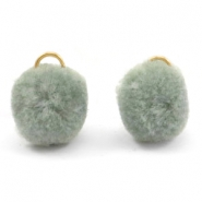 Pompom Anhänger mit Öse gold 15mm Chinois green grey