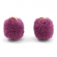 Pompom Anhänger mit Öse gold 15mm Heather purple