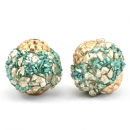 Bohemian Perlen 14mm Turquoise-gold