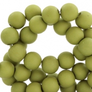 6 mm acryl Perlen Matt Olive green