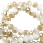 Top Glas Facett Perlen 6x4 mm disc White-half champagne pearl high shine coating