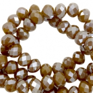 Top Glas Facett Perlen 8x6 mm disc Spicy mustard brown-half pearl high shine coating