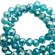 Top Glas Facett Perlen 6x4 mm disc Lagoon greenish blue-half gold pearl high shine coating