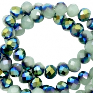 Top Glas Facett Perlen 6x4 mm disc Greenish grey-half blue gold pearl shine coating