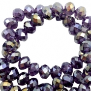Top Glas Facett Perlen 6x4 mm disc Tawny port purple-half gold pearl high shine coating