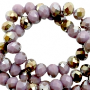 Top Glas Facett Perlen 6x4 mm disc Very grape purple-half gold pearl high shine coating