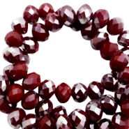 Top Glas Facett Perlen 8x6 mm disc Tawny port red-half silver pearl high shine coating