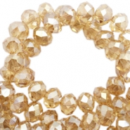 Top Glas Facett Perlen 8x6 mm disc Sandlewood champagne-pearl high shine coating