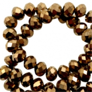 Top Glas Facett Perlen 6x4 mm disc Bronze brown-metallic pearl high shine coating