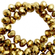 Top Glas Facett Perlen 8x6 mm disc Gold-pearl high shine coating