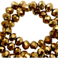 Top Glas Facett Perlen 8x6 mm disc Gold-metallic high shine coating