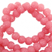 Sparkling beads 8mm Dark rose pink