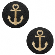 Holz Cabochon Anchor 20mm Black