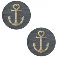 Holz Cabochon Anchor 20mm Dark grey