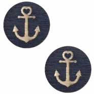 Holz Cabochon Anchor 20mm Dark blue