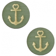 Holz Cabochon Anchor 20mm Dark green