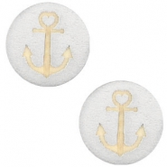 Holz Cabochon Anchor 20mm Silver