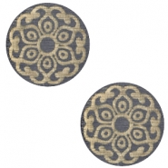 Holz Cabochon Mandala 12mm Dark grey