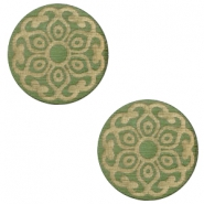 Holz Cabochon Mandala 12mm Dark green