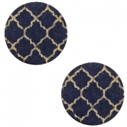 Holz cabochon Moroccan Design 12mm Dark blue