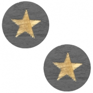 Holz Cabochon Star 12mm Dark grey