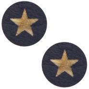 Holz Cabochon Star 12mm Dark blue