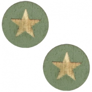 Holz Cabochon Star 12mm Dark green