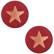 Holz Cabochon Star 12mm Cherry red