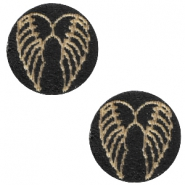 Holz Cabochon Angel Wings 12mm Black