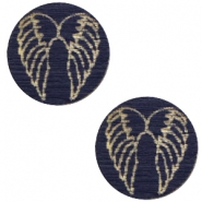 Holz Cabochon Angel Wings 12mm Dark blue