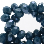 Top Glas Facett Perlen Disc 4x3mm Dark teal blue - pearl diamond coating
