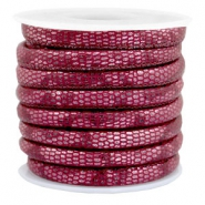 Gestepptes Leder (Imitat) 6x4mm Reptile Mulberry red