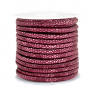 Gestepptes Leder (Imitat) 4x3mm Reptile Mulberry red