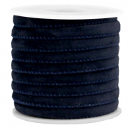 Trendy gesteppte Velvet Kordel 6x4mm Dark blue