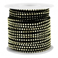 Imitat Wildleder mit Strass 3mm Gold-black