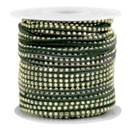 Imitat Wildleder mit Strass 3mm Gold-dark green