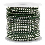 Imitat Wildleder mit Strass 3mm Silver-dark green